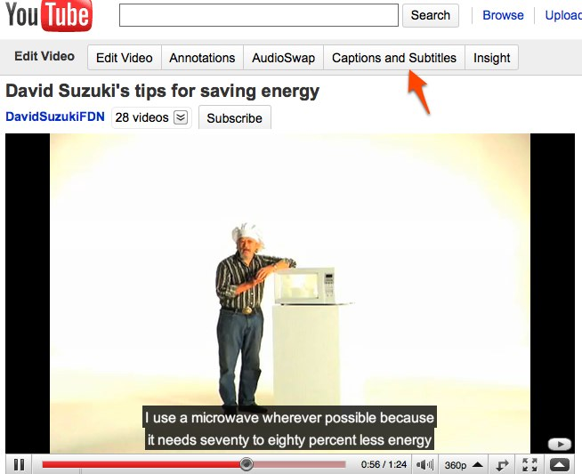 Youtube Captions and Subtitle tab